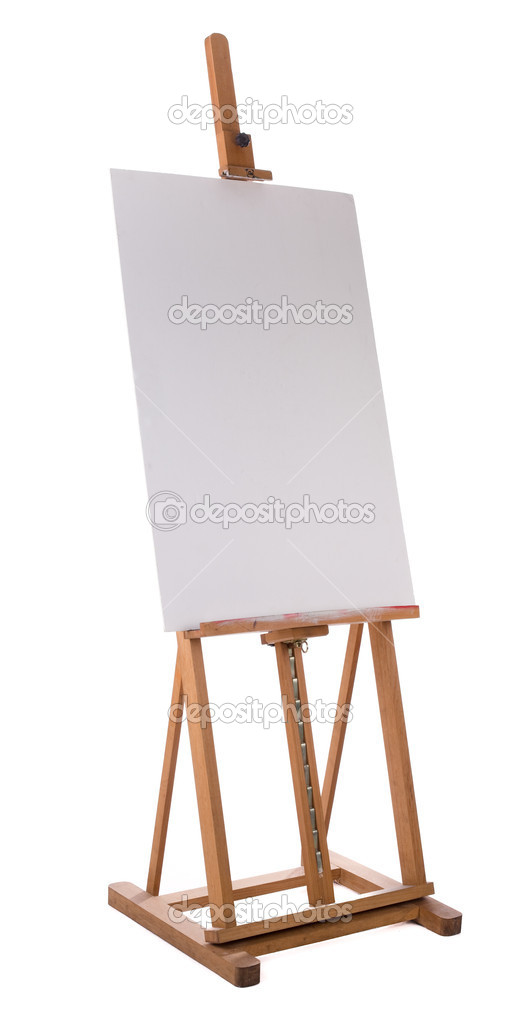 Wooden easel with blank canvas isolated on white background — Stock Photo #2590187