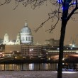 Stock Photo: St. Pauls in snow from South Bank