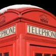 Stock Photo: Phone box with snow, isolated