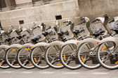 Paris - bicycles for hire — Stock Photo
