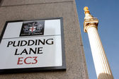 Pudding Lane and Monument, London — Stock Photo