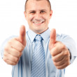 Businessman with both thumbs up — Stock Photo