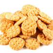 Pile of biscuits isolated on white — Stock Photo