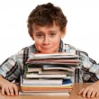 Schoolboy displeased by the homework - Stock Photo