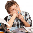 Schoolboy reluctant to doing homework - Stok fotoraf