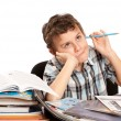 Schoolboy reluctant to doing homework - Zdjęcie stockowe