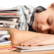 Exhausted schoolboy — Stock Photo