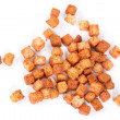 Delicious croutons isolated - Stock Photo