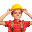 Little blue collar worker — Stock Photo