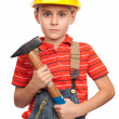 Little construction worker with hammer — Stock Photo #2009647