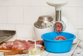 Meat grinder and mincemeat — Stock Photo