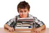 écolier contrarié par le travail à domicile — Photo