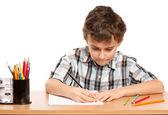 Schoolboy doing homework — Stock Photo