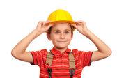 Little blue collar worker — Stock Photo