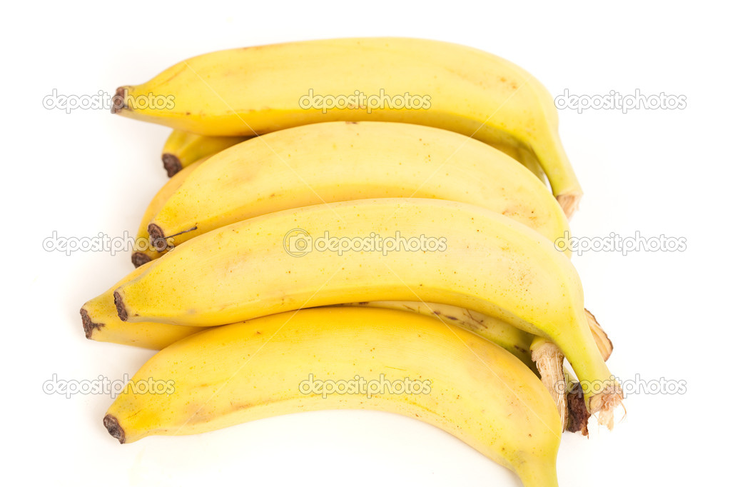 Detailed close up of a bunch of ripe bananas, isolated on white background — Stock Photo #2007228