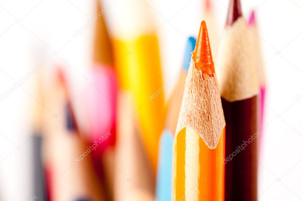 Close up of many pencils over blurred background, shallow depth of field — Stock Photo #2007826