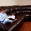 Cute kid reading a big book on a sofa — Stock Photo #2011737