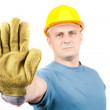 Blue collar worker making stop sign — Stock Photo