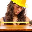 Latino construction lady — Stock Photo
