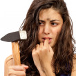 Young woman angry after hitting herself — Stockfoto