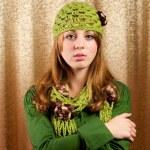 Beautiful blonde in retro cap and scarf — Stock Photo #2012176