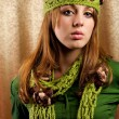 Beautiful blonde in retro cap and scarf — Stock Photo #2012178