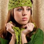 Beautiful blonde in retro cap and scarf — Stock Photo #2012183