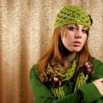Beautiful blonde in retro cap and scarf — Stock Photo