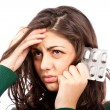 Woman with migraine — Stockfoto