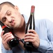Funny drunk businessman - Stock Photo