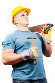 Blue collar worker with tools — Stock Photo
