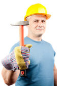 Blue collar worker with hammer — Stock Photo