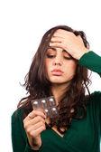 Woman with migraine — Stock Photo