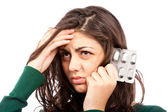 Woman with migraine — Stock Photo