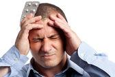 Baş ağrısı ile işadamı — Stok fotoğraf