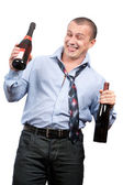Funny drunk businessman — Stock Photo