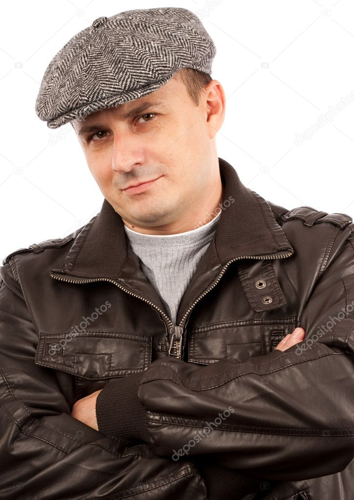 Trendy handsome young man with hat, isolated on white background — Stock Photo #2013126