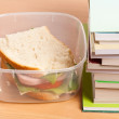 Royalty-Free Stock Photo: Sandwich and books