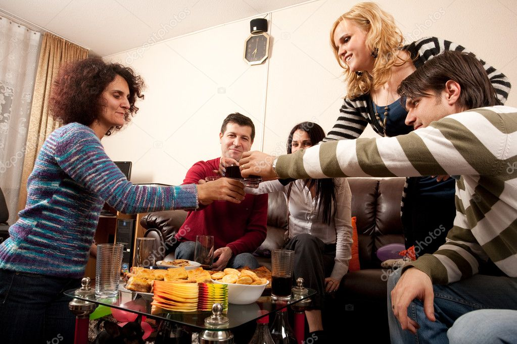 Party having some drinks together, celebrating, having fun  Stock Photo #2036925