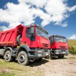Постер, плакат: Two large red dump trucks
