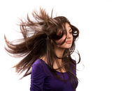 Girl flipping hair — Stock Photo