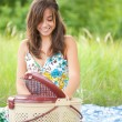 Beautiful woman at picnic — Stock Photo #2210502