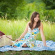 Beautiful woman at picnic - Stock Photo