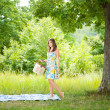 Beautiful woman at picnic — Stock Photo