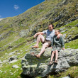 Stockfoto: Father and son in the mountains