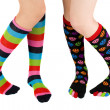 图库照片: Legs with colorful stockings