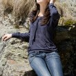 Beautiful brunette outdoor - Stock Photo