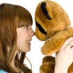 meisje met teddy bear — Stockfoto