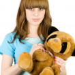 Girl with teddy bear — 图库照片
