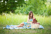 Beautiful woman at picnic — Stock Photo